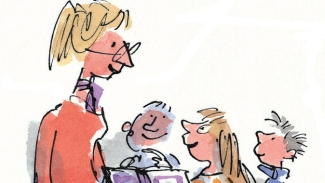 An early inspiration for me: Miss Honey, drawn by Quentin Blake in Roald Dahl's 'Matilda'.
