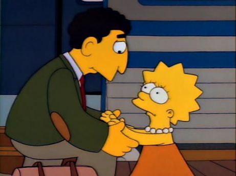 The charismatic Mr. Bergstrom says goodbye to Lisa in The Simpsons